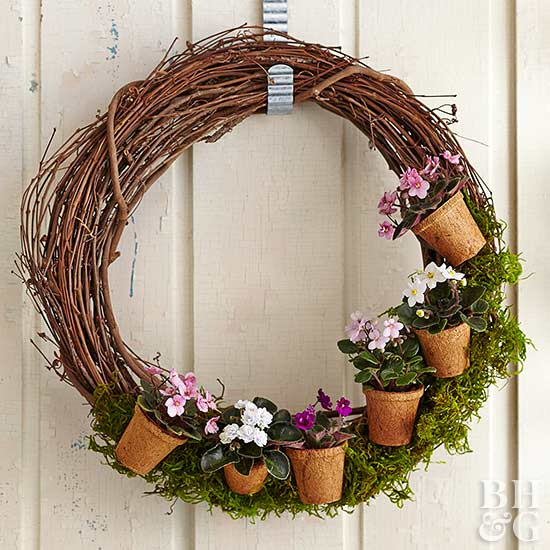 fiber pot and moss wreath