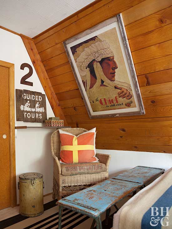 rustic bedroom corner with camp decor