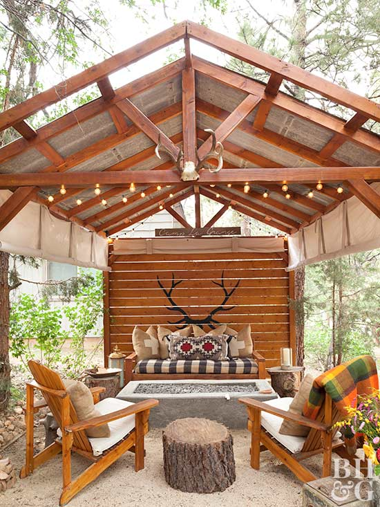 camp-inspired outdoor entertaining area