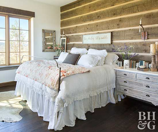 cottage bedroom with exposed beams