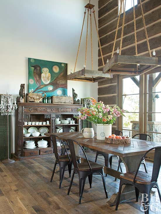 rustic dining with vaulted ceilings