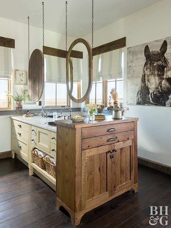 rustic bathroom with hanging mirrors