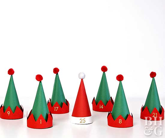 row of elf hats for advent calendar