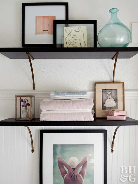 vintage shelves with eclectic decor