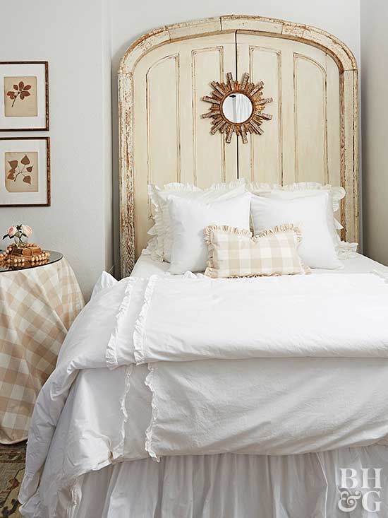 twin bed with vintage wood headboard
