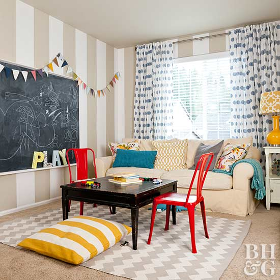 kids playroom with chalkboard