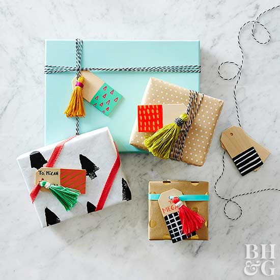 tassel gift card decorations on wrapped presents