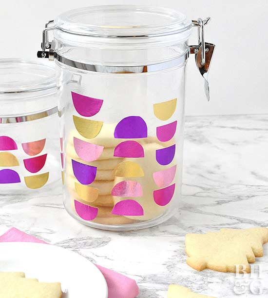 canister filled with holiday cookies