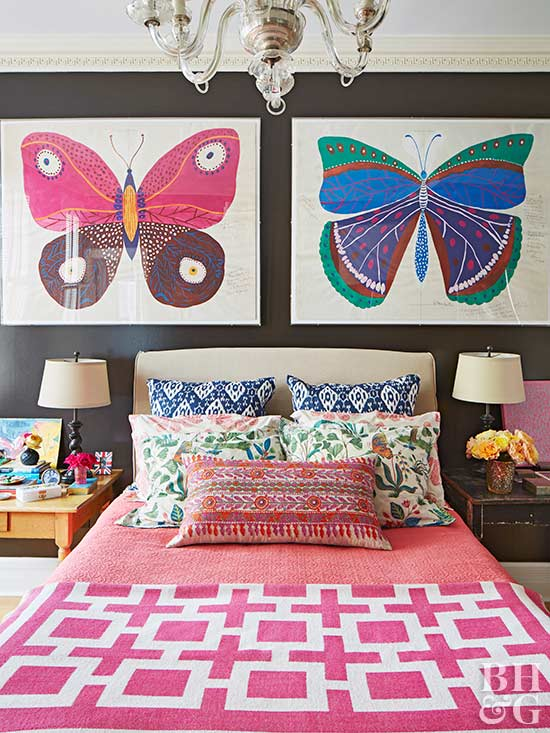 bedroom with butterfly prints