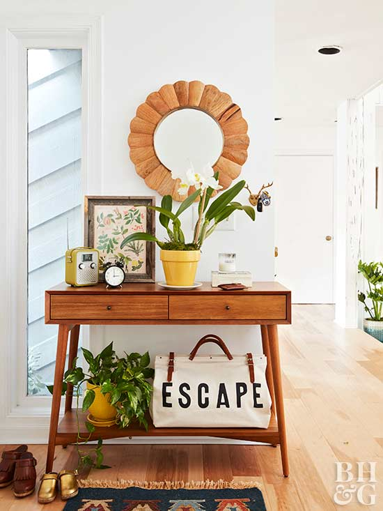 entryway table with mirror