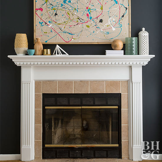 Fireplace white mantel