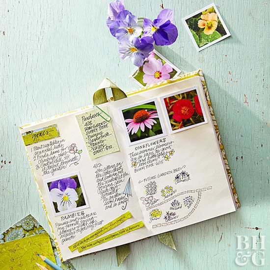 gardening journal with notes and photographs of plants