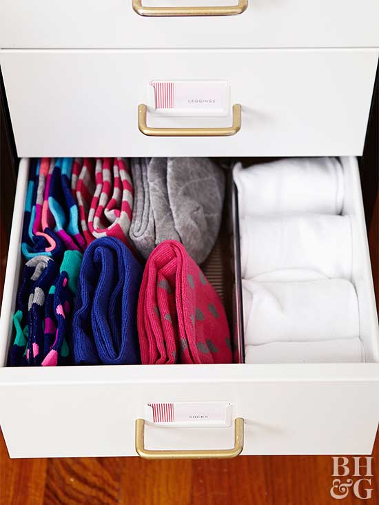 organized drawers with clothing