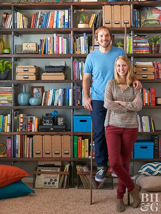 couple with bookshelves