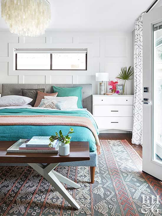 bedroom teal accents