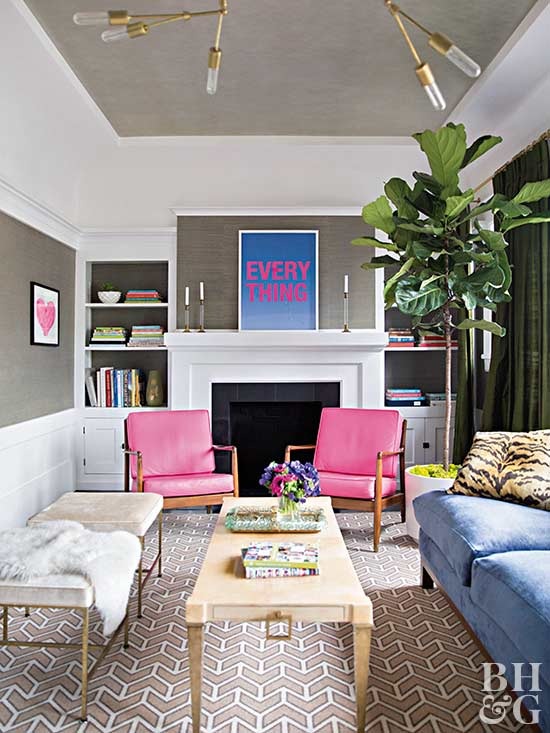 living room with pops of pink and blue