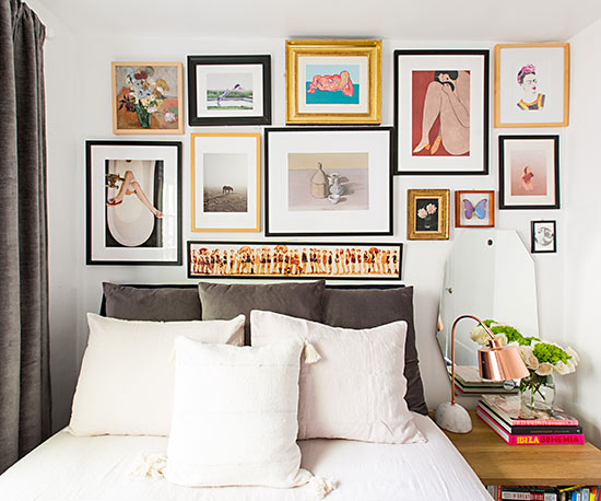 Bedroom with artwork