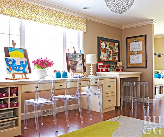 family craft room with ample table space