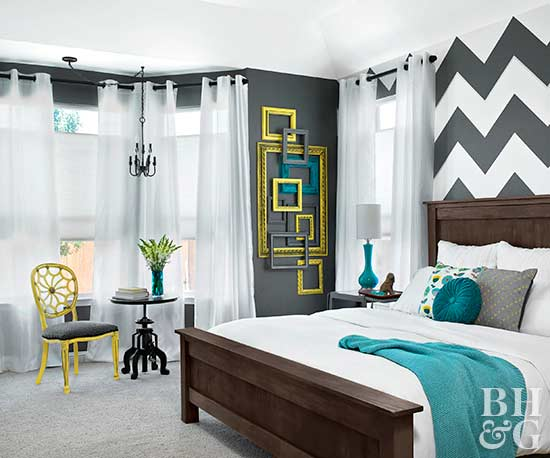 Patterned Bedroom Paint Colors. Pinterest. Chevron Accent Wall In Gray  Bedroom