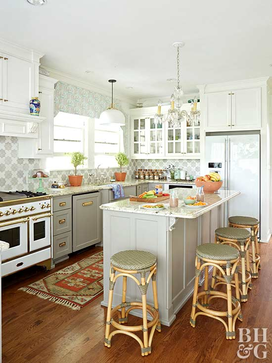 bright kitchen with green accents