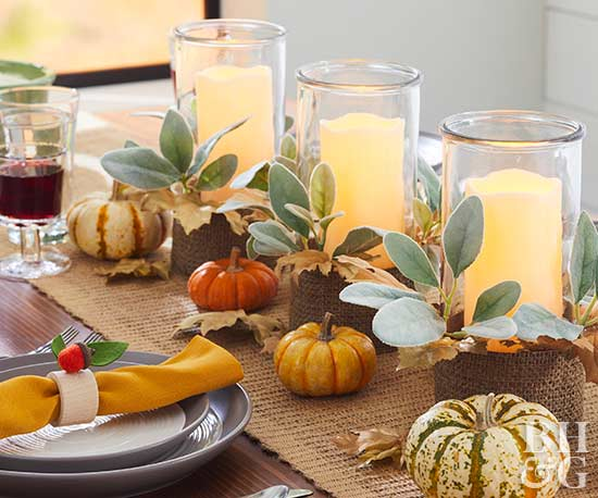 thanksgiving table with candles