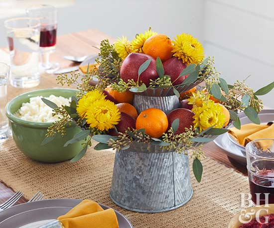 thanksgiving fruit and flower centerpiece