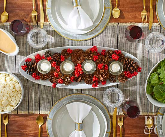 thanksgiving cranberry and pinecone centerpiece