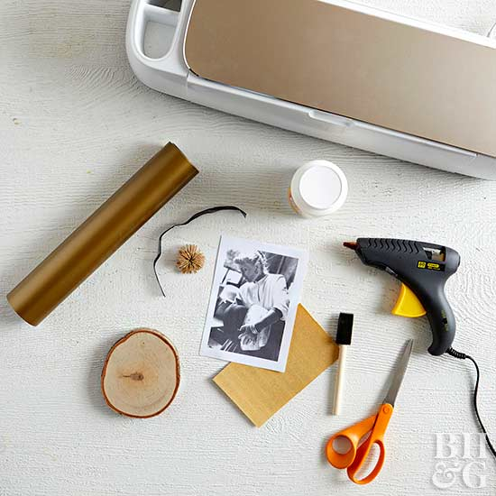 materials for handmade wood slice photo ornament