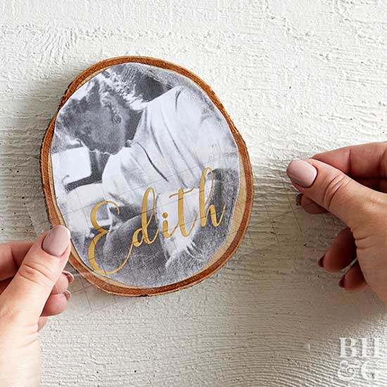 applying name to photo ornament