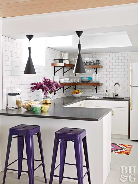 White kitchen with purple bar stools
