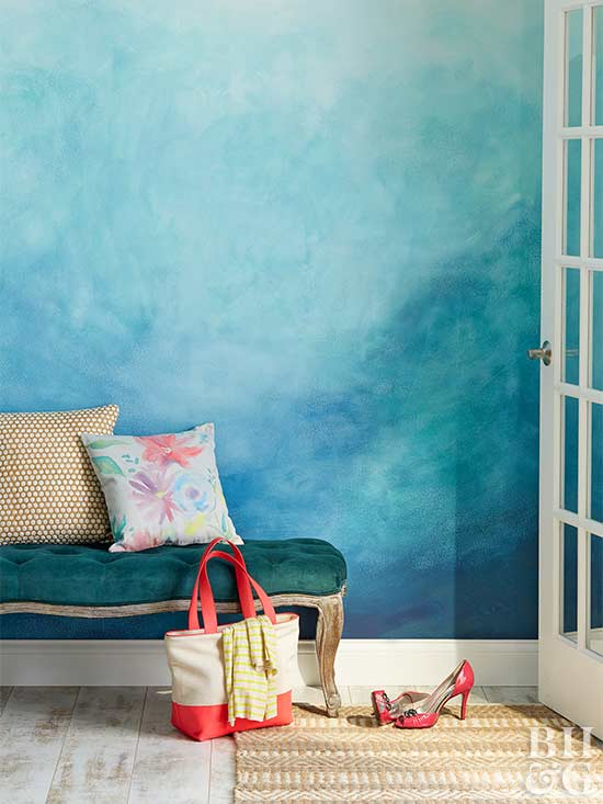 decorative painting blue wall