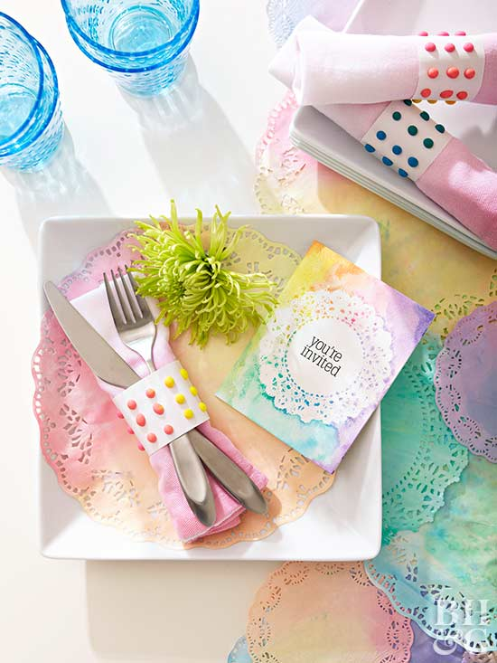 pastel watercolor party place setting