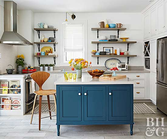bright modern kitchen with blue island