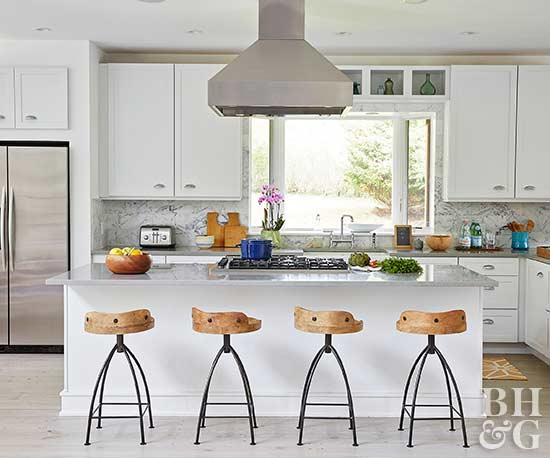 modern white kitchen with white cabinets