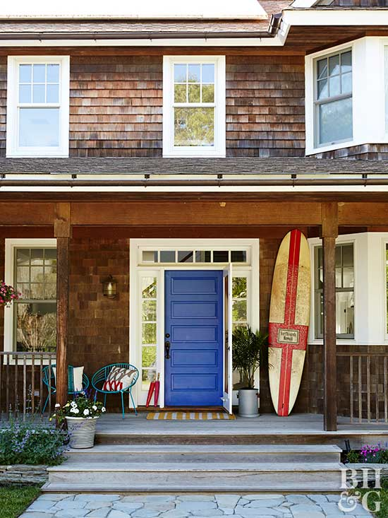 beach house exterior with blue door