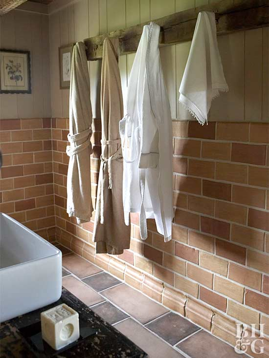 hanging robes rustic farmhouse bathroom