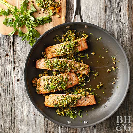 Seared Salmon with Pistachio Gremolata