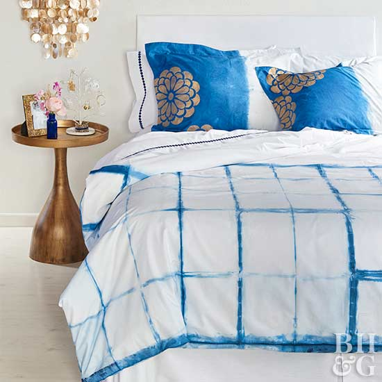 blue painted comforter pillows project