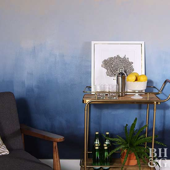 Original Filename: BHG517P29ACU_OmbreWall.jpg, ombre wall, blue ombre paint, painted wall