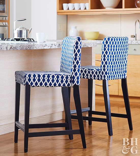 blue and white fabric cover bar stools