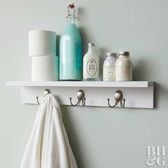 Wall Hooks With Shelf, Shelf, White Shelf, Wall Hooks