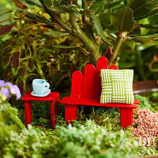 DIY popsicle stick bench, painted popsicles, mini