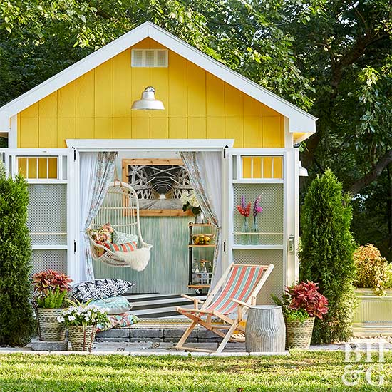 shed exterior with open doors