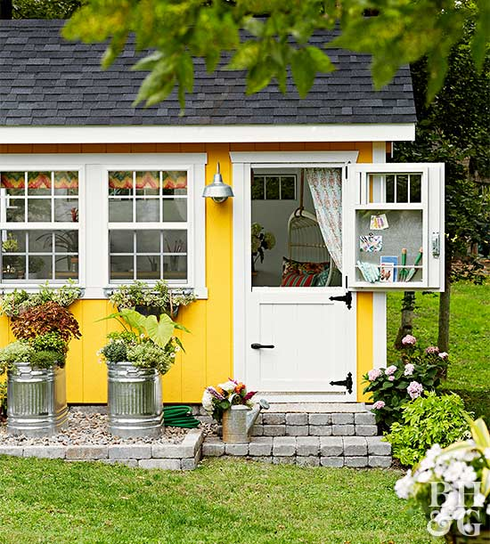 shed exterior with open door