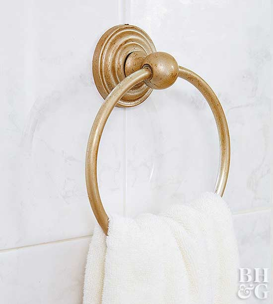 painted gold bathroom towel ring
