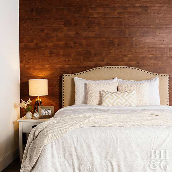 peel and stick wood flooring accent wall in the bedroom