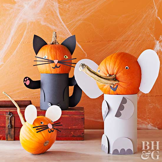 animal pumpkins, mouse pumpkin, elephant pumpkin, cat pumpkin