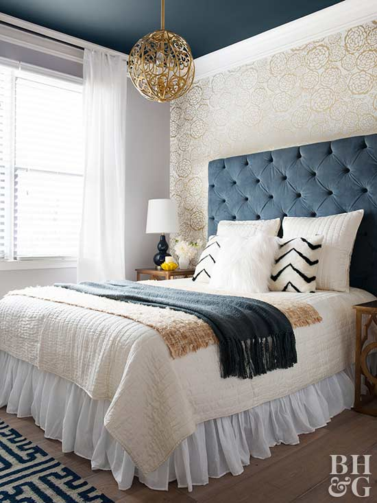 blue and white bedroom, bedroom, tufted headboard