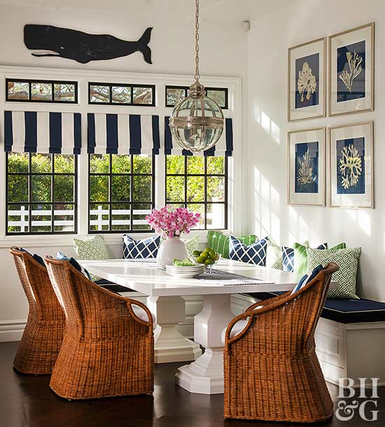 wicker chairs with whale art