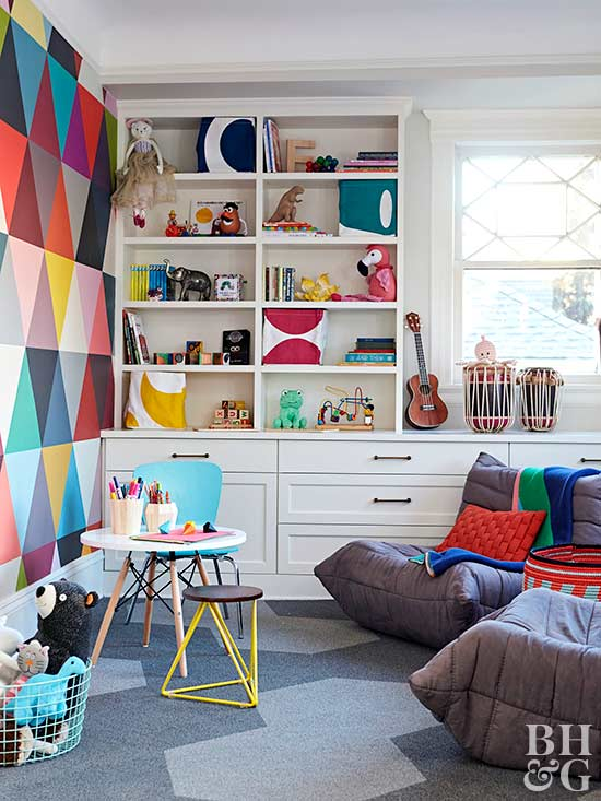 modern colorful playroom with storage
